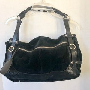 Furla Black Suede Leather Bag
